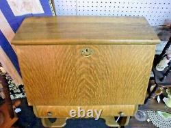 Fantastic Antique Tiger Oak Drop Front Desk Old Finish