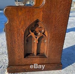 Fantastic Dark Quartersawn Tiger Oak Gothic Antique Church Pew 36 Gothic 1925