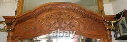 Fantastic Large Tiger Oak Hall Tree Seat with Griffins and Lion Heads
