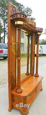 Fantastic Tiger Oak Halltree Mirror Seat circa 1900