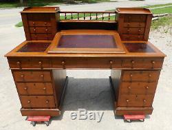 Fantastic Tiger Oak Lockside School Masters Desk circa 1890