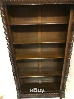 Free Ship Nj/nyc/phily Area Tiger Oak Antique Carved Bookcase Not Barrister