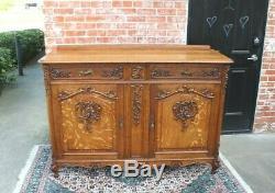 French Antique Louis XV Tiger Oak Sideboard / Buffet c 1880