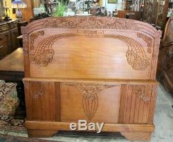 French Antique Tiger Oak Art Deco Full Size Double Bed w. Rails