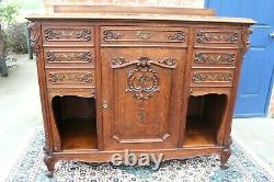 French Antique Tiger Oak Louis XV Sideboard / Server Marble Top c 1880