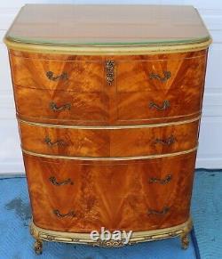 French Burl Tiger Oak Tall Chest / dresser / highboy