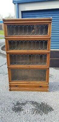 GLOBE WERNICKE of LONDON 4 SECTION LEADED GLASS BARRISTER BOOKCASE (42-20)