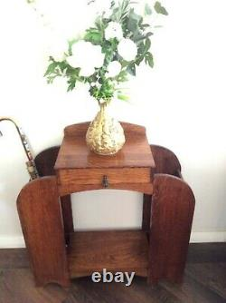 Genuine 1930s Art Deco Umbrella Stand Hallway Entrance Table Solid Tiger Oak