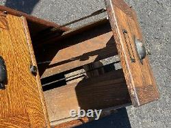 Globe Tiger Oak Vintage Antique 3 Drawer Home Office Library File Cabinet