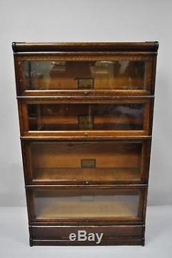 Globe Wernicke Quarter Sawn Tiger Oak 4 Section Stack Barrister Lawyers Bookcase