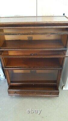 Globe Wernicke Tiger Oak Barrister Lawyer Bookcase 3 stack plus Base & Top