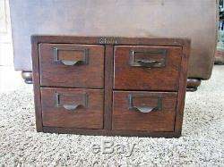 Globe & Wernicke Tiger Oak Library File Cabinet Index Card Catalog 4 Drawer Wood