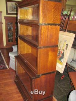 Globe Wernicke Tiger Oak Stacking Bookcase Stepback