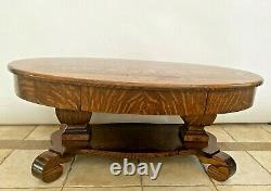 Gorgeous Antique Oval Coffee Table with Top Drawer Solid Tiger Oak bottom shelf