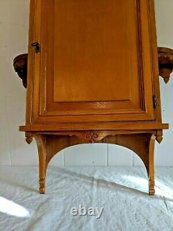 Gorgeous Antique Vtg Wall Cabinet Cupboard Hanging Wood Cabinet