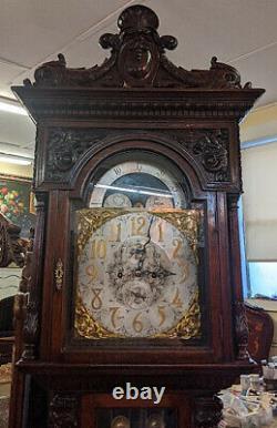 Gorgeous Winterhalder & Hofmeier Tiger Oak Figural Tall Case Grandfather Clock
