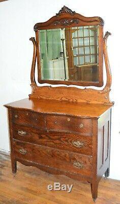 Gorgeous c. 1800's Antique Serpentine Solid Tiger Oak Swing Mirror Dresser Chest