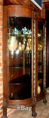 Griffin Tiger Oak Carved Leaded Diamond Pillar Claw Bow Antique China Cabinet