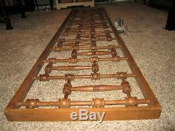 HUGE! Tiger Oak Architectural Salvage Fretwork Victorian Stick & Ball Panel Rail