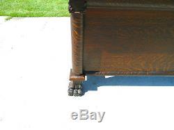 High Back Tiger Oak Bed and Dresser circa 1900