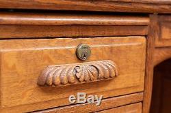 Huge 60 Tiger Oak Raised Panel Desk Circa 1890
