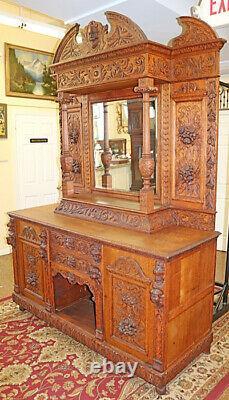 Incredible 19th Century Tiger Oak Figural Bar Server Sideboard Buffet