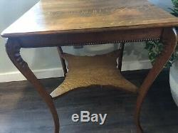 Large Antique/Vintage Tall Tiger Oak Two Tier Side/End Accent Table