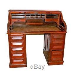 Large Roll top Desk Union Boston Mass -Tiger Oak Chair 2 Wood File Cabinets