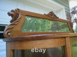 Large Victorian Antique Curved Glass Oak Claw Feet Gargoyle Heads China Cabinet