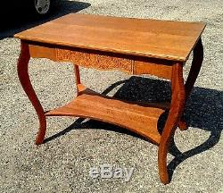 Library Table Tiger Oak Pressed Skirt LARKINS SOAP CO. 1920 ERA Antique
