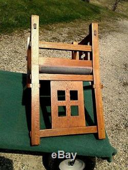 Limbert Mission Style Salesmen Sample or Youth Chair Tiger Oak 1910 Era Antique
