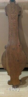 Lovely Antique English Carved Tiger Oak Wheel Banjo Wall Aneroid Barometer Mint
