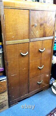 Lovely Art Deco Armoire Wardrobe with Coat Rod Closet, Tiger Oak Accent, Veneer