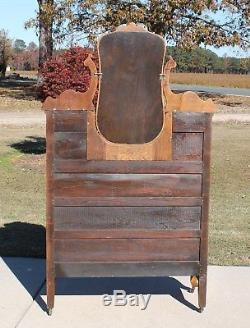 Lrg. Victorian Tiger Oak Serpentine Front Mirror Chest Drop Center Dresser c1900