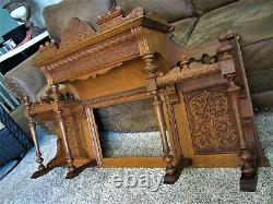 MINT! Tier Shelf Tiger Oak Fireplace Over Mantle Mirror Victorian Reed Organ Top
