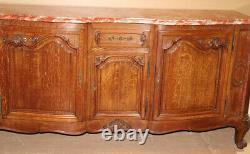 Marble Top Quarter Sawn Tiger Oak Louis XV Sideboard Buffet Server, circa 1930