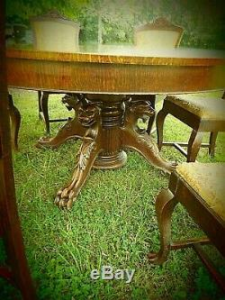 Massive 60 Antique Tiger Oak Dining Table And Six Chairs- Attr. R. J. Horner