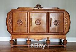 Mid Century Antique English Art Deco Quartersawn Tiger Oak Sideboard Buffet