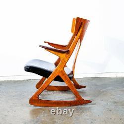 Mid Century Danish Modern Rocking Chair Teak Tiger Oak Rocker Grey Black Leather