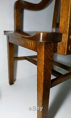 Milwaukee Chair Co. Antique Arts & Crafts/Mission Tiger Oak Banker Desk Chair