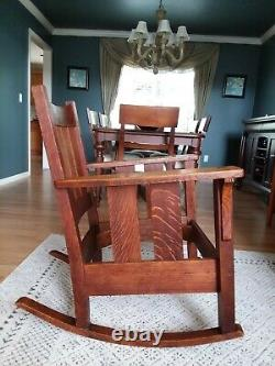 Mission Antique Tiger Oak Rocking Chair (unmarked, possibly Stickley Bros)