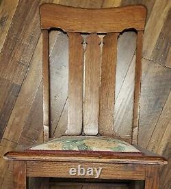 Mission Antique Tiger Oak Slat Back Upholstered Seat Dining Side Chairs Set of 4