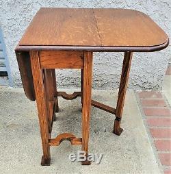 Mission Arts & Crafts Quarter Sawn Tiger Oak Drop Leaf Gate Leg Lamp Side Table