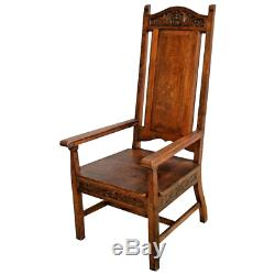 Mission Arts and Crafts Arm Chair Solid Tiger Oak Antique Large over sized