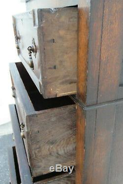 Mission Arts and Crafts Late 1800s Tiger Oak Tall Narrow Storage Chest 1107