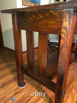 Mission Tiger Oak Stickley Style Arts And Craft Library Table/ Antique Piece