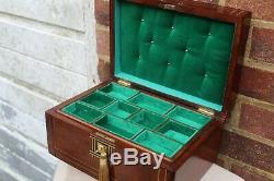 NEAT LARGE c 1880 TIGER OAK WITH BRASS STRING INLAY JEWELLERY BOX TRINKET TRAY
