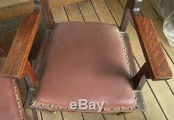 Northwind Faces Set / 4 Antique Tiger Quartersawn Oak Chairs Rare Very Unusual