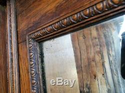 Oak Fireplace Mantle Antique BELL FLOWER salvage TIGER architectural 7'-1 tall