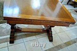 Oak Refectory Table Italian Pedestal Legs drop down hidden draw leafs antique